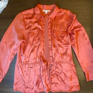 100% Silk orange Banana shirt/jacket - XL